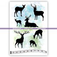 Small Reindeers (KTZ198) A6 Unmounted Rubber Stamp Set by Katzelkraft