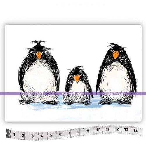 The Grumpy Penguins (KTZ145) A6 Unmounted Rubber Stamp Set by Katzelkraft