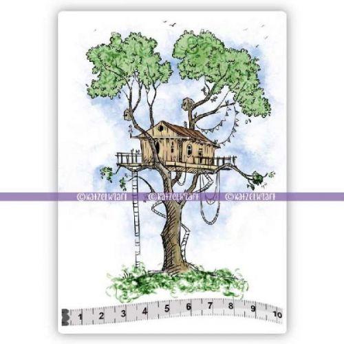 Tree House (KTZ167) A6 Unmounted Rubber Stamp Set by Katzelkraft