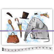 Watson the Elephant (KTZ267) A6 Unmounted Rubber Stamp Set by Katzelkraft