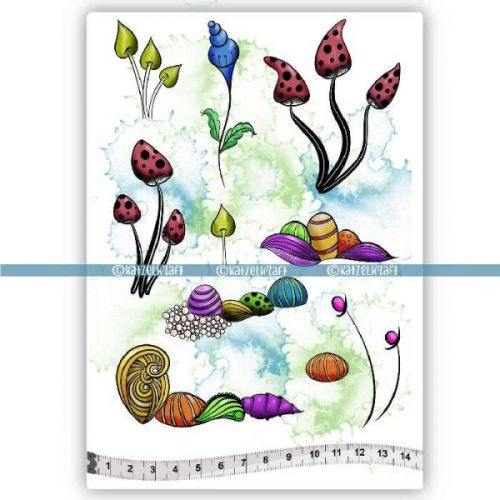 Whimsical Flowers (KTZ192) A5 Unmounted Rubber Stamp Set by Katzelkraft