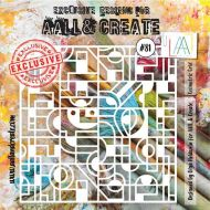 Geometric Grid - No. 81 Aall and Create Stencil - 6 in by 6 in (15cm by 15cm)