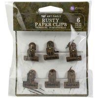 Rusty Prima Art Daily Planner Metal Binder Clips 6/Pkg (968472)