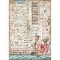 A4 Rice Paper Packed - Passion Roses And Music (DFSA4539) by Stamperia