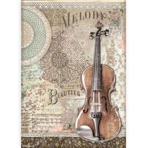 A4 Rice Paper Packed - Passion Violin (DFSA4538) by Stamperia