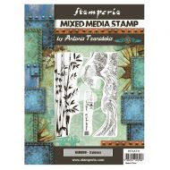 Mixed Media Stamp cm 15x20 Sir Vagabond in Japan bamboo (WTKAT21) by Stamperia