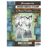 Mixed Media Stamp cm 15x20 Sir Vagabond in Japan lantern (WTKAT22) by Stamperia