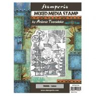 Mixed Media Stamp cm 15x20 Sir Vagabond in Japan pagoda (WTKAT20) by Stamperia